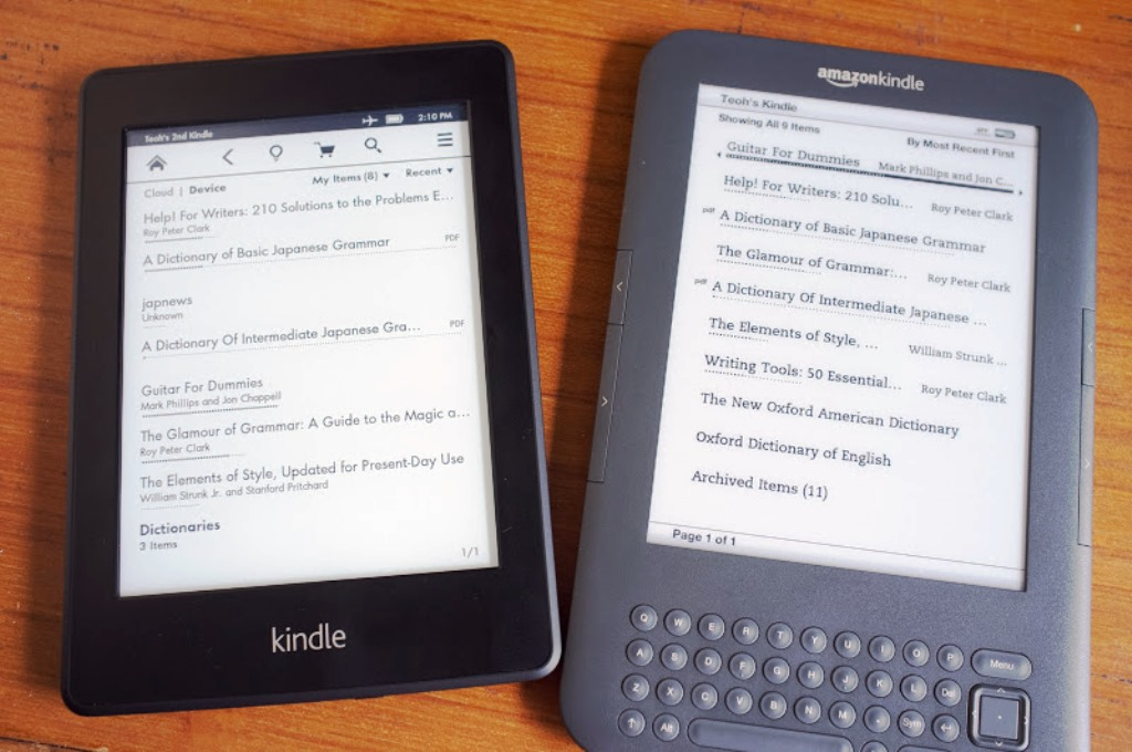 Amazon Kindle Paperwhite (left) and Kindle Keyboard 3G (right)
