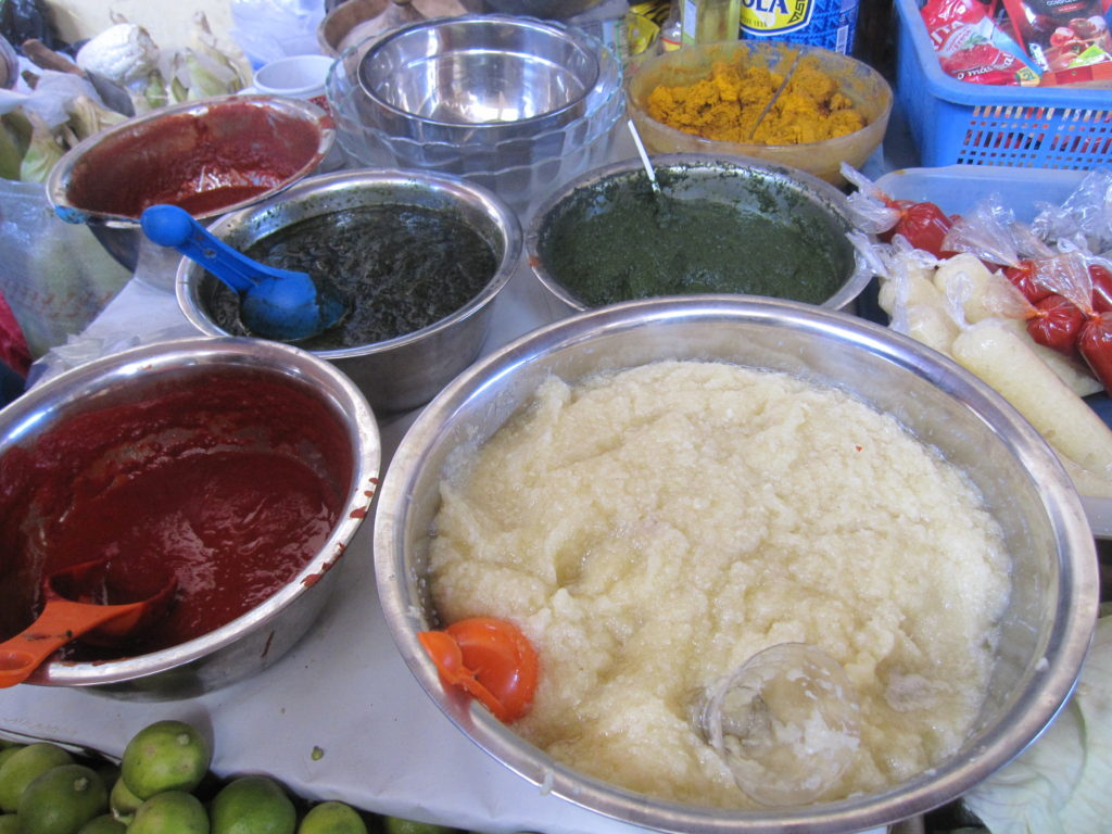 The local municipal market had many vendors who pre-made sauces and spices for you.